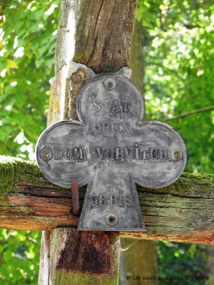 Détail de la croix qui symbolise l'emplacement de l'Eglise de La Chartreuse du Val-Dieu